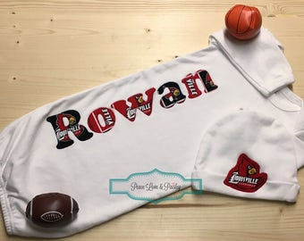 Baby personalized etsy personalized baby gown and hat set kentucky baby cardinals baby personalized baby gift louisville cardinals baby new dad gift negle Choice Image