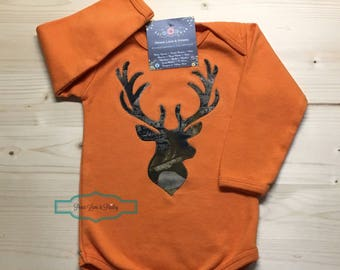 Camo Baby Bodysuit, Deer Head Baby, Realtree Camo, Going Home Outfit, Orange and Camo, Baby Shower Gift, Hunting Baby Shirt, Buck Baby