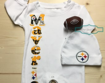 Dallas cowboys personalized baby romper and hat set cowboys pittsburgh steelers baby romper and hat set steelers baby outfit personalized baby going home outfit baby shower gift nfl babymaverick negle Gallery