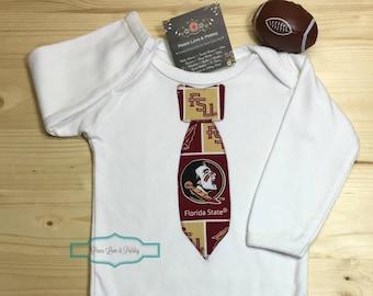 FSU Seminoles Necktie Bodysuit Made from Florida State University Fabric, FSU Baby, FSU Baby Boy, Noles Baby