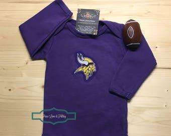 593168c3c Vikings Bodysuit with Logo Cut from Minnesota Vikings Fabric