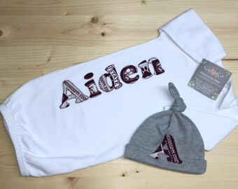 Personalized Baby Gown and Hat Set f4f3821b2390
