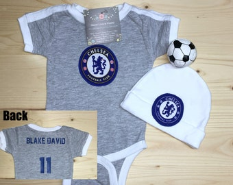 68a99bd15 Chelsea Football Club Baby Jersey and Hat Set,Baby Soccer Jersey,Chelsea FC  Baby,Personalized Baby Soccer Jersey,Chelsea Baby Gift,Baby Hat