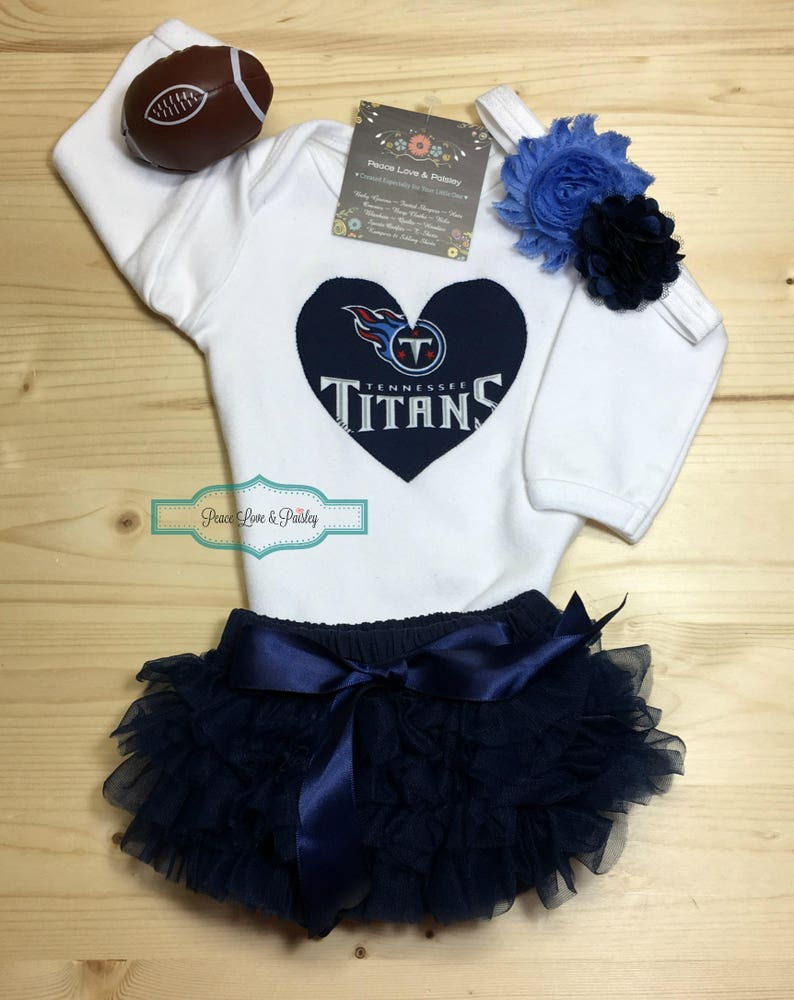 premium selection 4107b a94b3 Tennessee Titans Bodysuit, Lace Diaper Cover and Headband Set Made from TN  Titans Fabric, Titans Baby Outfit,Baby Girl Titans,Tennessee Baby
