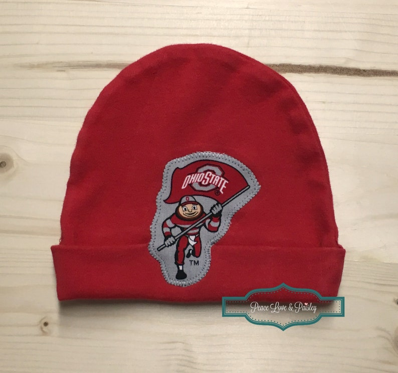 cd402a4f3f3 OSU Inspired Baby Hat Made from Ohio State Buckeyes Fabric