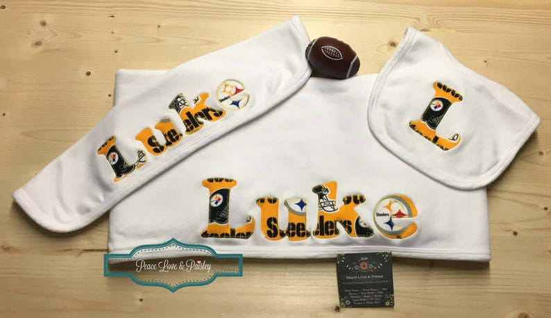 1685ede6a Pittsburgh Steelers Personalized Baby Gift Set Steelers Baby | Etsy