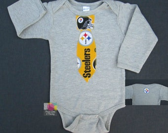 Pittsburgh Steelers Necktie Bodysuit Made from Steelers Fabric, Steelers Baby, Steelers Baby Boy, NFL Baby, Baby Boy Tie, Baby shower Gift