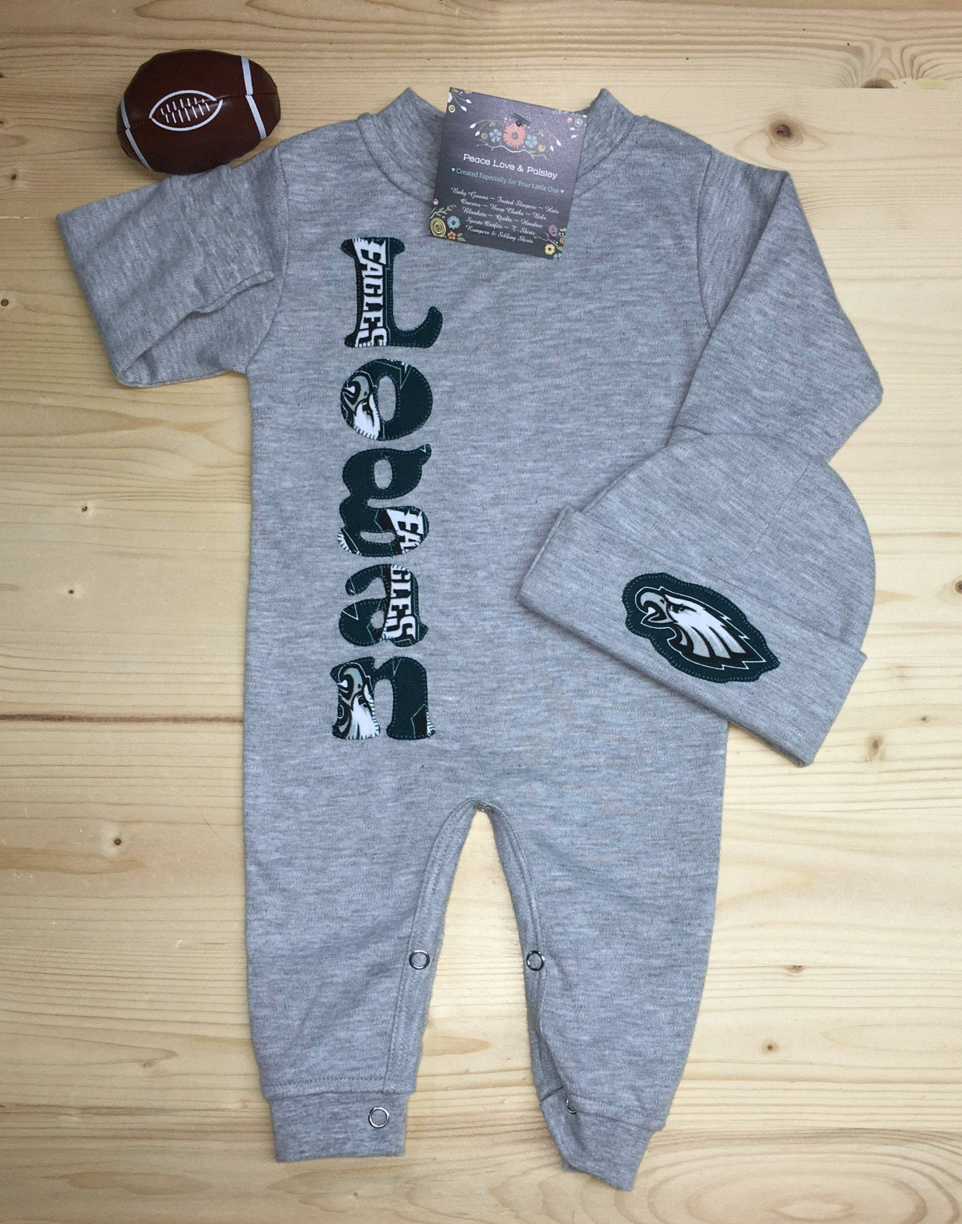 reputable site bac9c f0693 Philadelphia Eagles Personalized Baby Romper and Hat Set,Eagles Baby  Outfit,Personalized Baby,Going Home Outfit,Baby Shower Gift,NFL Baby