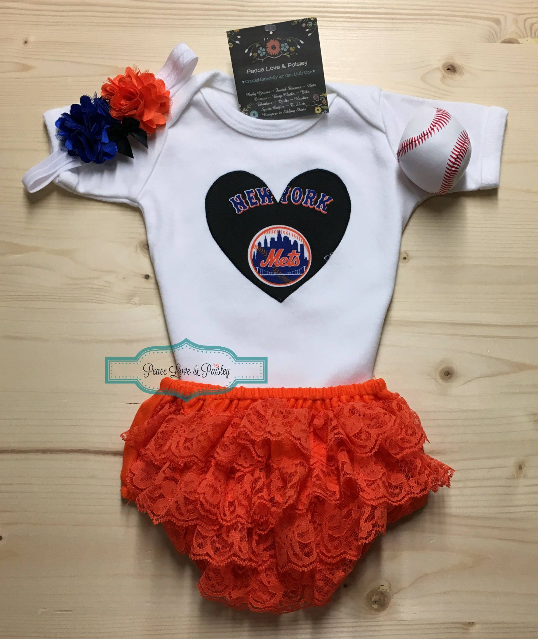 reputable site c2062 dde43 New York Mets Baby Bodysuit, Ruffle Diaper Cover and Headband Set Made from  NY Mets Fabric, Mets Baby, Baseball Baby, NY Baby, MLB Baby Girl