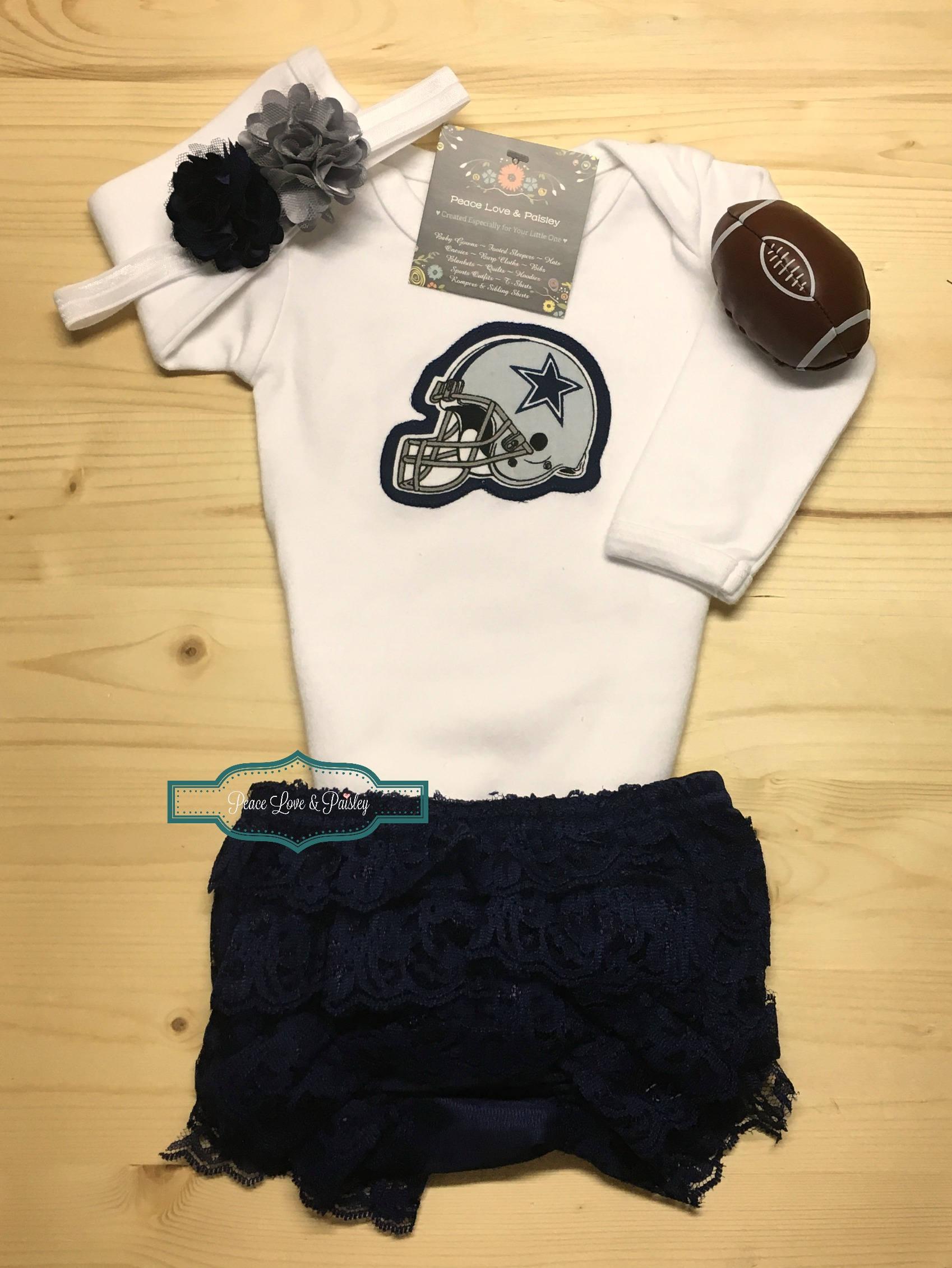 Dallas Cowboys Bodysuit Ruffle Diaper Cover and Headband Set  98d0ebefc