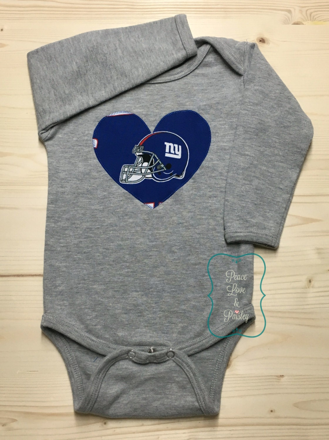 3f2222b9 Giants Bodysuit with Heart Made from NY Giants Fabric, NY Giants Baby Girl,  Baby Girl Giants, NFL Baby Girl, Baby Shower Gift