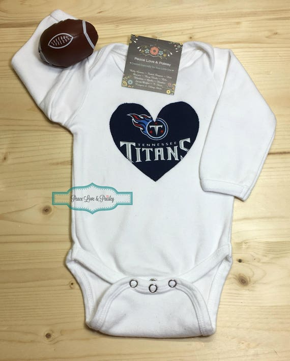 the best attitude aeb65 6a21c Titans Bodysuit with Heart Made from Tennessee Titans Fabric, Baby Titans,  Tennessee Titans Baby, Tennessee Baby, NFL Baby Shirt