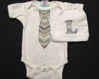 Necktie Baby Bodysuit or Gown and Matching Hat, Chevron Tie, Baby Shower Gift, Baby Boy Going Home Outfit, Newborn Photo, Tie Bodysuit