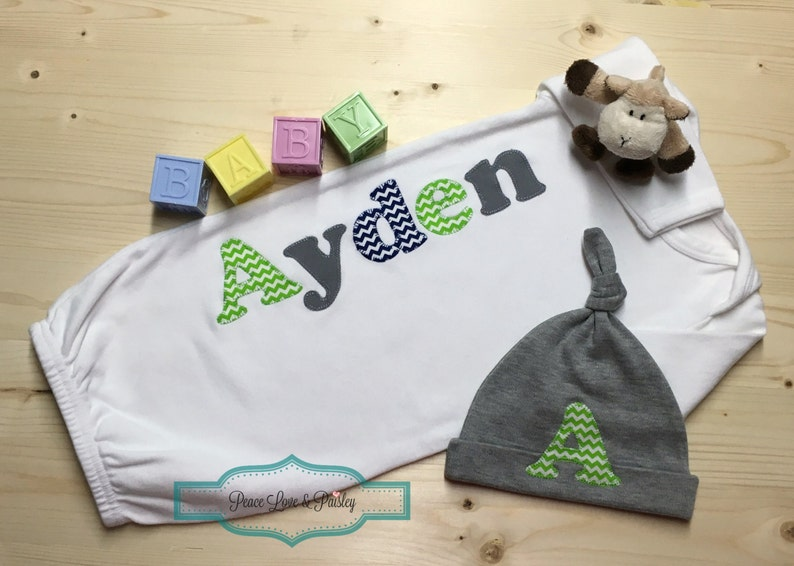 Newborn Gown Lime Green and Grey Baby Chevron Baby Personalized Baby Boy Gown and Hat Set Personalized Baby Boy Monogrammed Baby Gown