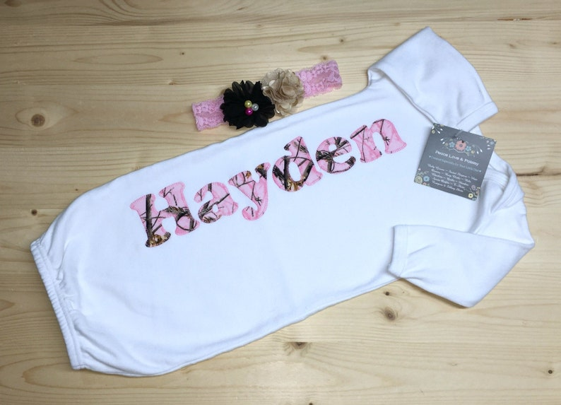 b94b75182c1a Personalized Baby Gown Newborn Gown Monogrammed Baby Outfit | Etsy