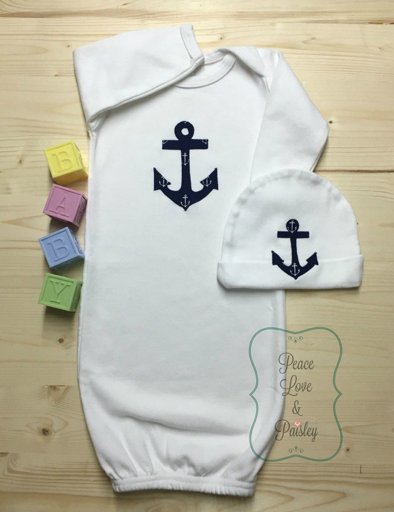 CUSTOM PERSONALIZED Anchor Monogram Baby Sleeper Gown /& Hat Outfit Nautical