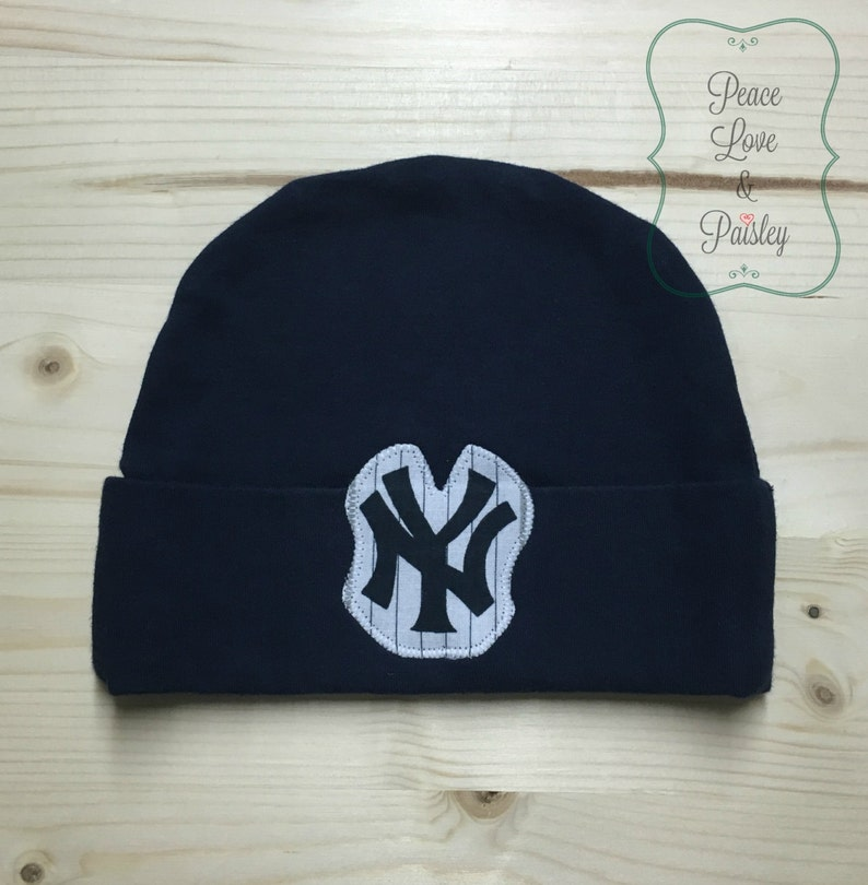 14d235cc9f7 Yankees Baby Hat Made from New York Yankees Fabric NY Yankees