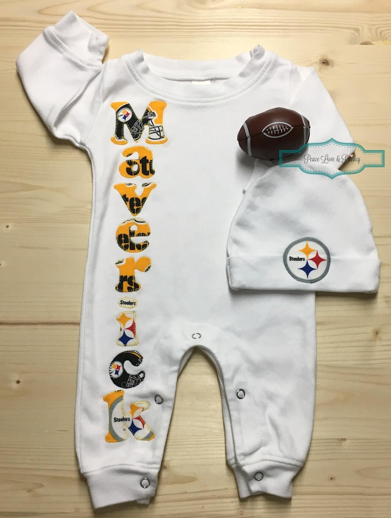 Pittsburgh Steelers Baby Romper and Hat Set Steelers Baby  6c9a20299