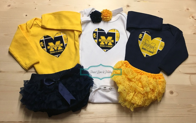 423bcdf81b5ad3 University of Michigan Inspired BodysuitDiaper Cover and