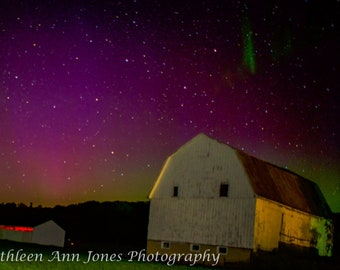 Aurora Over White Barn