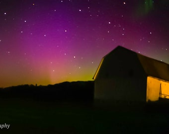 Aurora Over White Barn-Another View