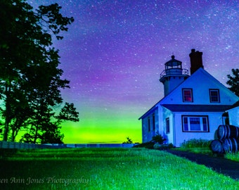 Mission Point Lighthouse with Aurora