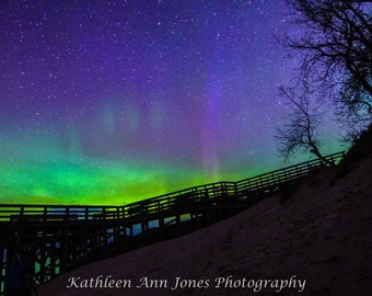 Sleeping Bear Dunes Overlook with Aurora