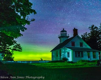 Mission Point Lighthouse with Aurora and Shooting Star
