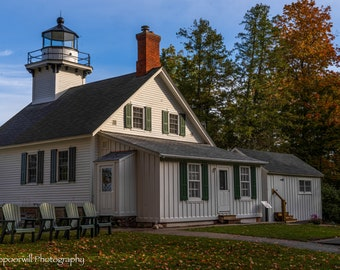 Mission Point Lighthouse in Fall