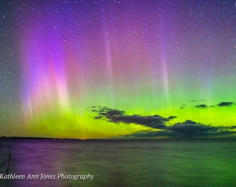 Colorful Aurora Borealis Over Old Mission Peninsula