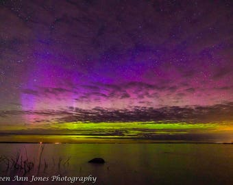 Northern Lights Up the Clouds Over Old Mission Peninsula