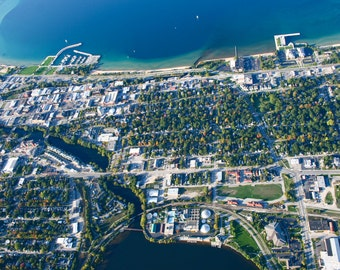 Aerial View of Traverse City Michigan Print Various Sizes