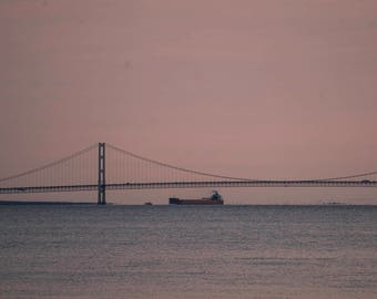 Mackinac Meeting with a Freighter