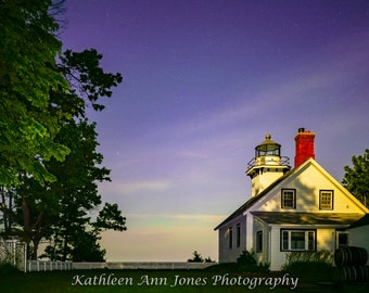 Mission Point Lighthouse with Pastel Aurora
