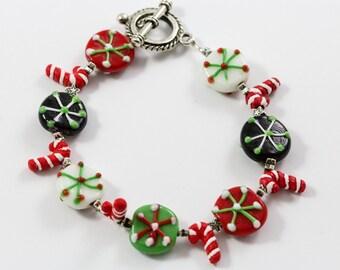 Candy Cane Beads Christmas Bracelet
