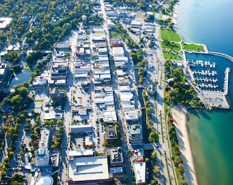 Downtown Traverse City Michigan Including Marina Digital Photo Download