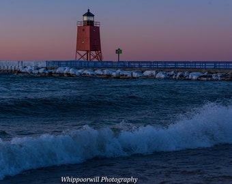 Charlevoix Lighthouse Winter Sunset