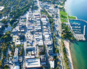 Aerial View of Downtown Traverse City Michigan Print Various Sizes