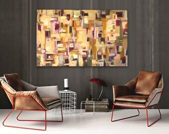 Modern Interieur Schilderij : Palissander  groot abstract schilderij in