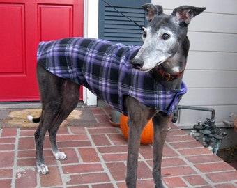 Greyhound Jacket | XL Dog Jacket | Dog Coat | Purple, Black, Gray and White Plaid Fleece with Purple Fleece Lining