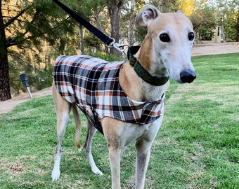 Greyhound Coat | XL Dog Jacket | Big Dog Coat | Pumpkin, Rust, Black, Charcoal Gray and White Flannel Plaid with Charcoal Gray Fleece Lining