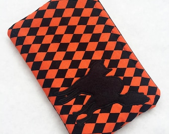 Orange and Black Harlequin Diamond Zipper Pouch with Appliqued Wool Felt Black Cat and White Satin Lining
