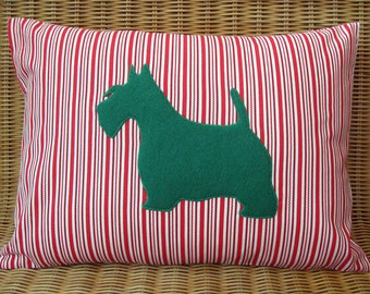"""Christmas Appliquéd Scottie Dog Pillow, Green Terrier with Red & White Candy Cane Stripes Print, 12"""" x 16"""""""