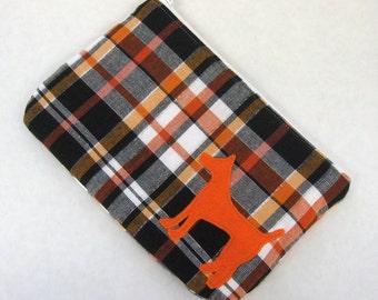 Plaid Zipper Pouch, Pumpkin, White, & Black Plaid with Appliqued Orange Dog and White Satin Lining