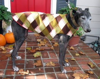 Greyhound Coat | XL Dog Jacket | Big Dog Coat | Red, Green, Olive, Brown, and Ivory Plaid Fleece with Red Fleece Lining