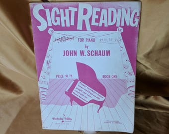 Vintage 1953 Sight Reading for Piano by John W Schaum Book One Illustrated USA *eb