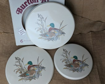 "New Burton Enterprises Ducks Burner Covers Two 10"" One 8"" Steel Porcelain Enamel NOS NIB IOB *eb"