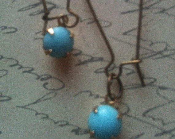 Blue Earrings, Dangle and Drop Earrings, Vintage Earrings, Vintage Jewellery, Antique Jewelry, Vintage Style Jewelry