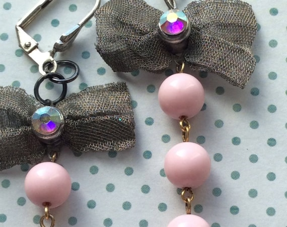 Dangle and Drop Earrings, Pink Pearl Earrings, Silver Bow Earrings, Earrings for Women, One of a Kind,