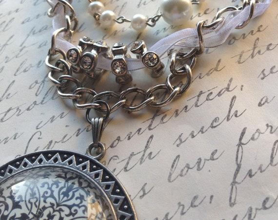 Jewelry, Necklace, Pendants, Vintage Jewelry, Victorian Jewelry, Steampunk Necklace, Wedding Jewelry, Ribbon Necklace, Romantic Necklace